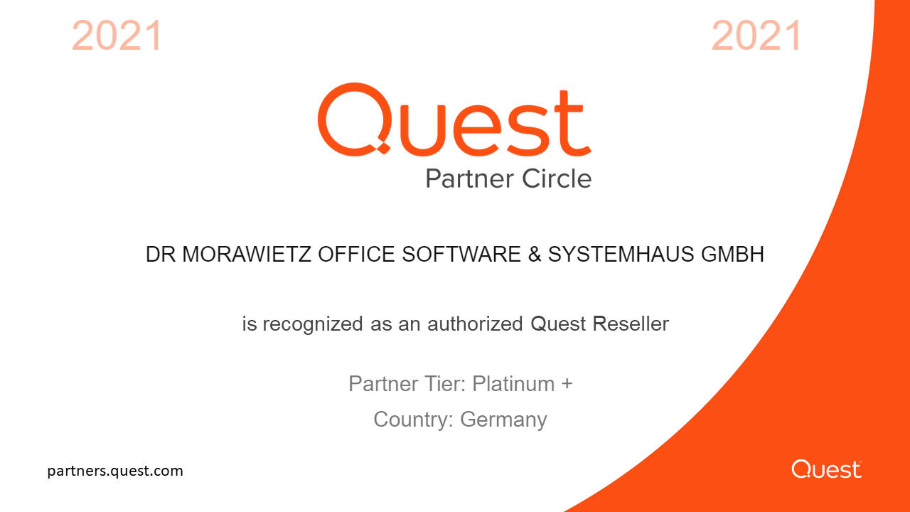 Quest Platinum+ Partner Zertifikat